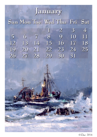 2014 January Calendar Art
