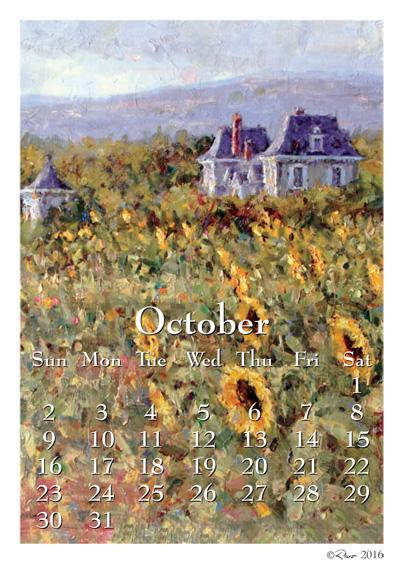 October Calendar Art : Art calendars october